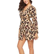 Chiffon Knitted Dress Sexy V Leopard Print Split Hem Dress Long Sleeve  Autumn Women Tights Slim 7bc29a462