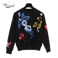 2018 Autumn/Winter Hot Top Casual Oversized Sweater New Design Floral Colorful Pattern Knitted Roud Neck Hedging Sweaters C 097