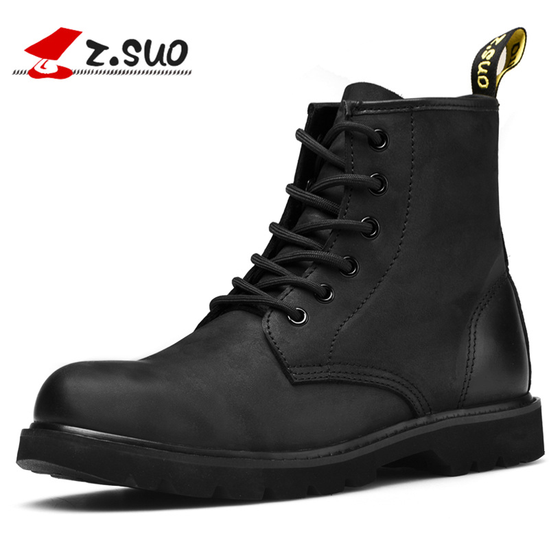Men's Winter Boots Fashion Genuine Leather Ankle Boot Shoes Lace-up Motorcycle Martin Boots For Male botas hombre fashion men s formal martin boots mens leather ankle boots lace up male boots footwear botas hombre spring autumn winter shoe