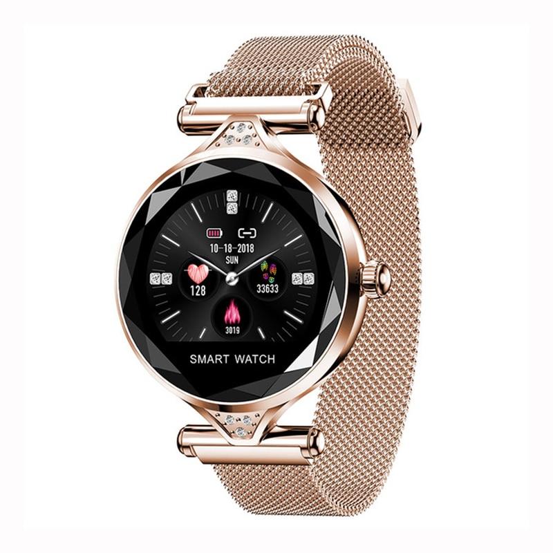 De luxe Maille montre connectée Femmes Bluetooth moniteur de fréquence cardiaque Sang Pression traqueur de remise en forme Dames montre intelligente pour ios Android H1