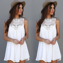 New 2017 Summer Women Sleeveless White Lace Party Dresses Casual Sexy Beach Mini Sun Dress Plus Size Vestidos Mujer