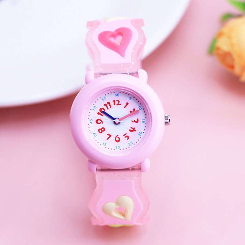 2018 Willis Girls 3D Cartoon Lovely Cute Butterfly Love Beer Quartz Wristwatches Children Kids Gifts Silicone Electronic Watch