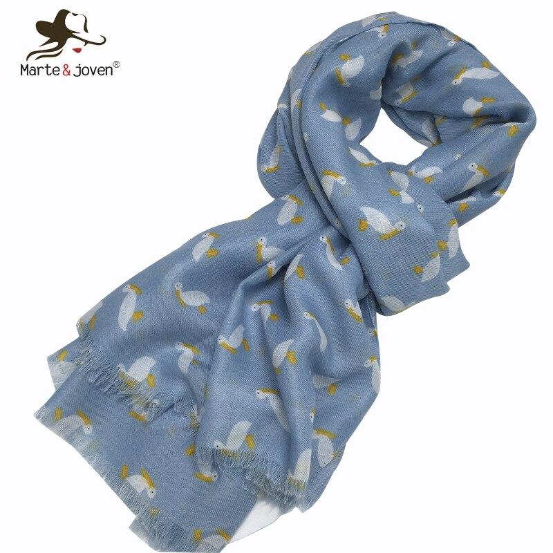 Marte&Joven Cute Small Cartoon Duck Print Light Blue   Scarf   Shawl for Women Fashion Spring Autumn Warm Fringe   Scarves     Wraps   Hijab
