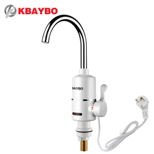 Купить с кэшбэком 3000W Instant Electric Water Heater Ta Tankless Faucet Water Heater Kitchen Electric Faucet Instant Hot 3 seconds heating