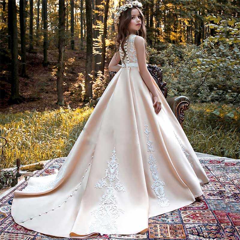 חדש ארוך שרוול ראשית הקודש שמלות O-צוואר עם קשת אבנט ילדה פרח שמלות כדור כותנות תפור לפי מידה Vestidos