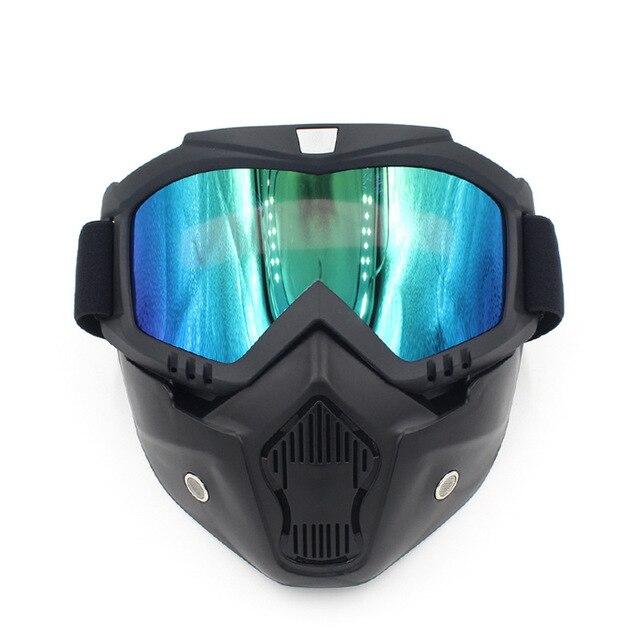 Motocross Óculos De Proteção Óculos de Poeira Rosto Máscara Motocicleta  Destacável Oculos Gafas Boca Do Filtro 9ab7a56acb