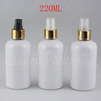 220ML White Round Shoulder Plastic Bottle With Gold Spray Pump , 220CC Makeup Sub-bottling , Toner / Water Packaging Bottle
