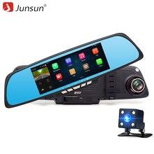 "Junsun Android 6.86 ""камера автомобиля DVR двойной объектив FHD 1080P зеркало заднего вида Видео навигация GPS автомобиля черточки Cam"