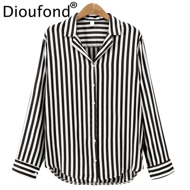 73d7025e Dioufond Ladies Office Tops Chic Notched V-Neck Women Blouses Shirt Cotton  Long Sleeve Striped Chemise Femme Casual 2018