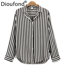 Dioufond Ladies Office Tops Chic Notched V-Neck Women Blouse