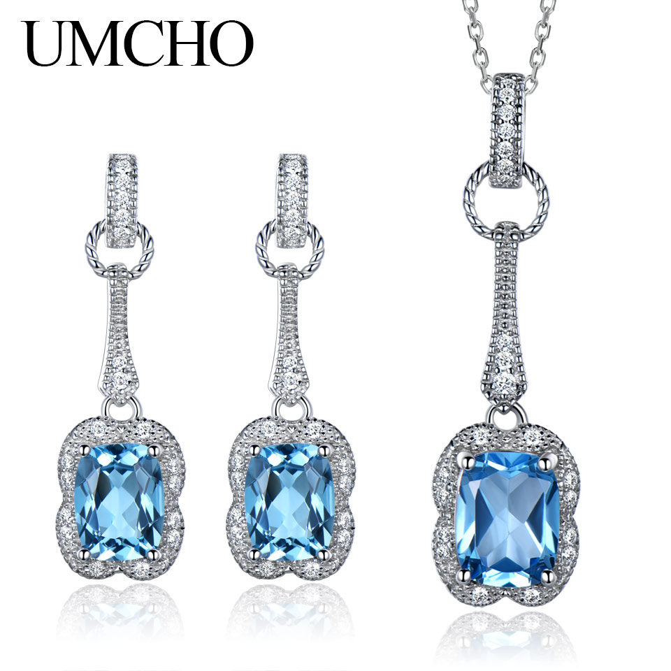 UMCHO Real 925 Sterling Silver Jewelry Set 5.6 ct Natural Blue Topaz Drop Earrings Pendant For Women Jewelry Necklace With Chain цена