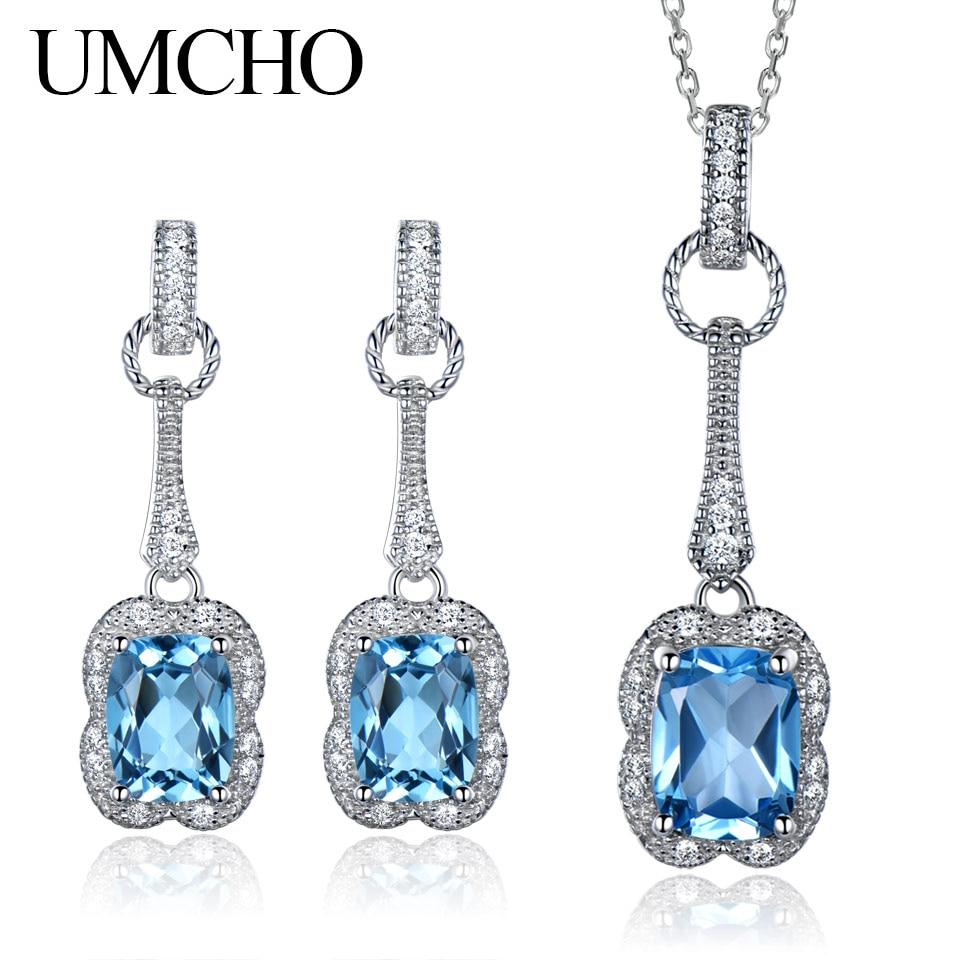 UMCHO Real 925 ensemble de bijoux en argent Sterling 5.6 ct naturel topaze bleue boucles d'oreilles pendentif pour femmes bijoux collier avec chaîne