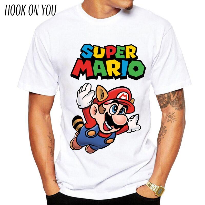 New Men Fashion T shirt Hipster Printed Tee Shirts Short Sleeve Tops Super Mario periodic table T-Shirt Muscle SuperMario player