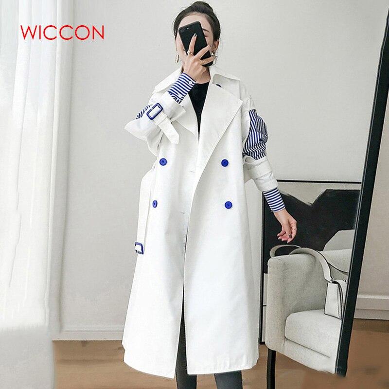 2019 Patchwork Striped   Trench   Coat Women Windbreaker Lapel Slim Spring Autumn Windbreakers Korean Fashion Clothes