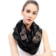Женский шарф с принтом черепа, шарф с петлей, аксессуары для шарфов