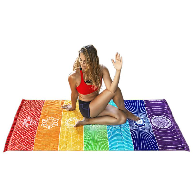 Nueva pared colgante Mandala manta 7 Chakra rayas Arco Iris rayas tapicería verano viajes Toalla de playa Yoga Mat Bikini Cover Up