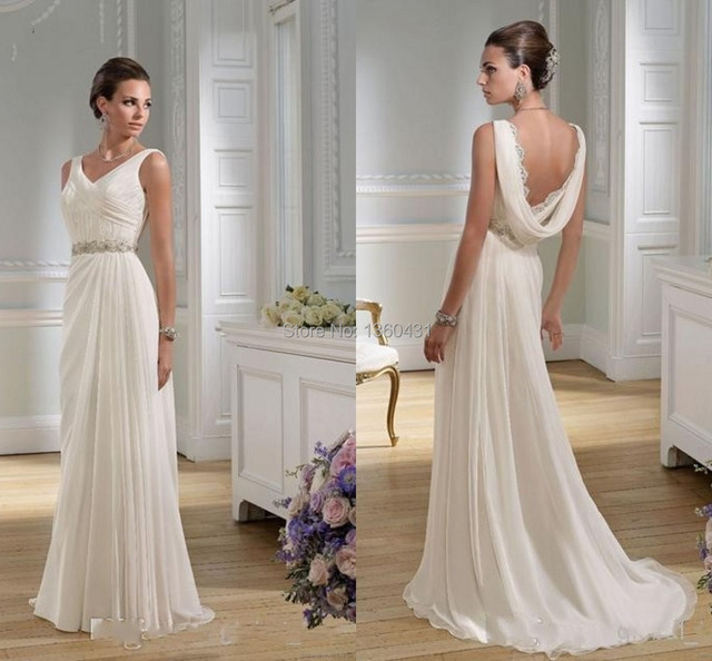 24603550a4 2015 Dynamic Elegant Classic V Neck Bridal Gowns A Line Wedding Dress  Backless Draped Crystal Chiffon Beach Wedding Dresses