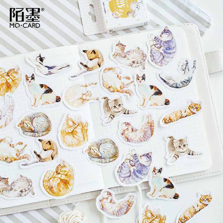 Lazy Cat Meow Decorative Stationery Stickers Scrapbooking DIY Diary Album Stick Label