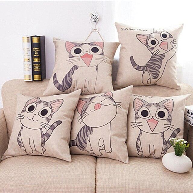 New Cartoon Cat Animals Decorative Throw Pillows Car Decor Cushion Cotton  Home Cushions C0