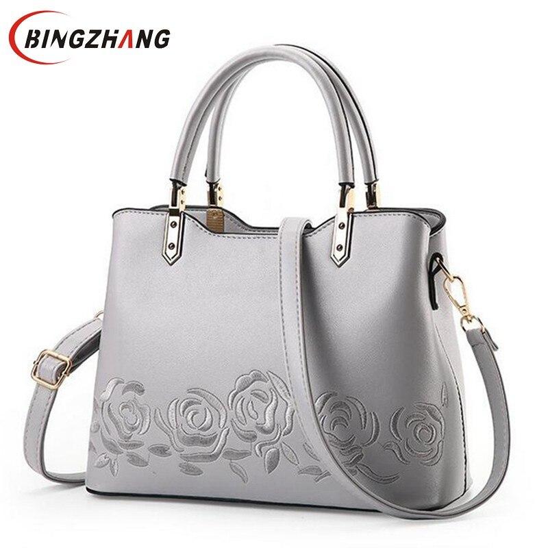 Luxury Women Leather Handbag Women Messenger Bag Female Leather Shoulder Bag Women's Embroidery Flower Handbag L4-3061