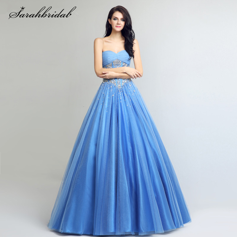 Blue Sweetheart Neck Elegant   Prom     Dresses   Crystal Beaded Sequined Ruched Lace Up Long Evening Gowns Vestido De Festa LSX263