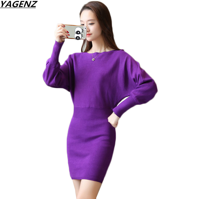 YAGENZ Spring Autumn Womens Dresses New Fashion Knit Sweater Dress Bat Sleeve Slim Sexy Package Hip Dress Women Clothing K777