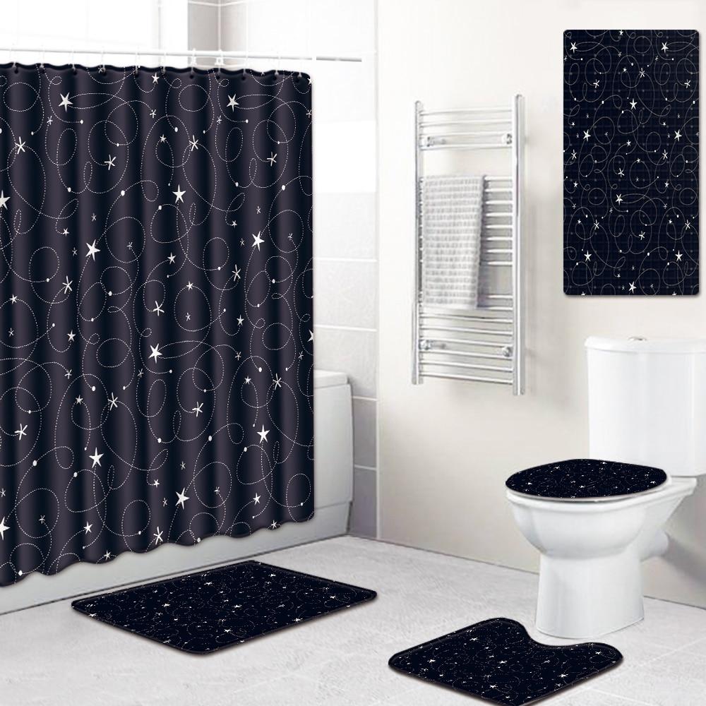5pcs Bathroom Decor Bath Curtain Non Slip Flannel Toilet Carpet
