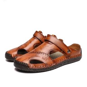 Image 3 - ZUNYU yeni Casual erkek yumuşak sandalet rahat erkek yaz deri sandalet erkekler roma yaz açık plaj sandaletleri büyük boy 38 48
