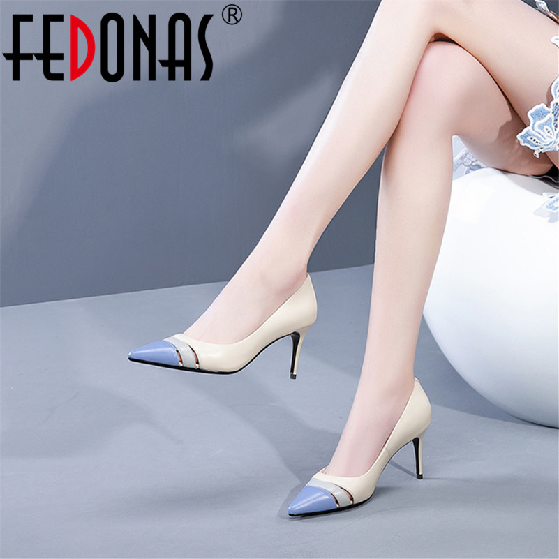 FEDONAS Fashion Sexy Women Pointed Toe Party Wedding Shoes Woman Slip On Patchwork Prom Pumps Ladies