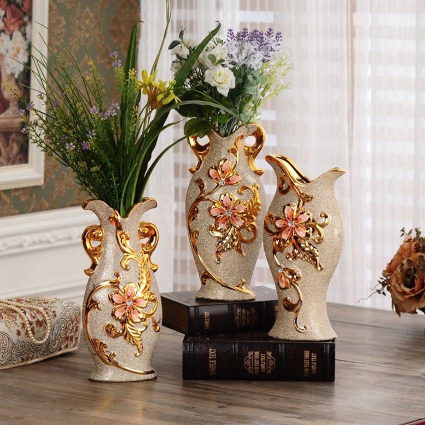 florero de cermica de la manera europea de oro jarrones para la decoracin del hogar moderno