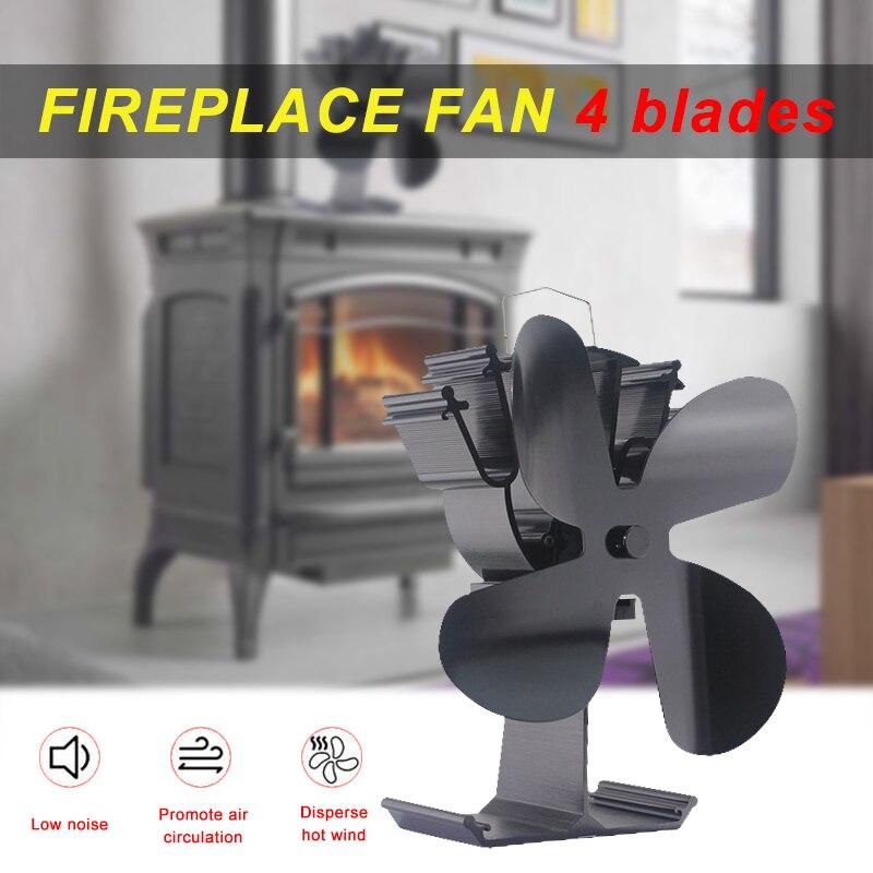 New Upgrade New 4-Blade Heat Powered Stove Heater Fan Black/Silver/Gold For Wood Burning Log Burner Fireplace Silent 230CFM