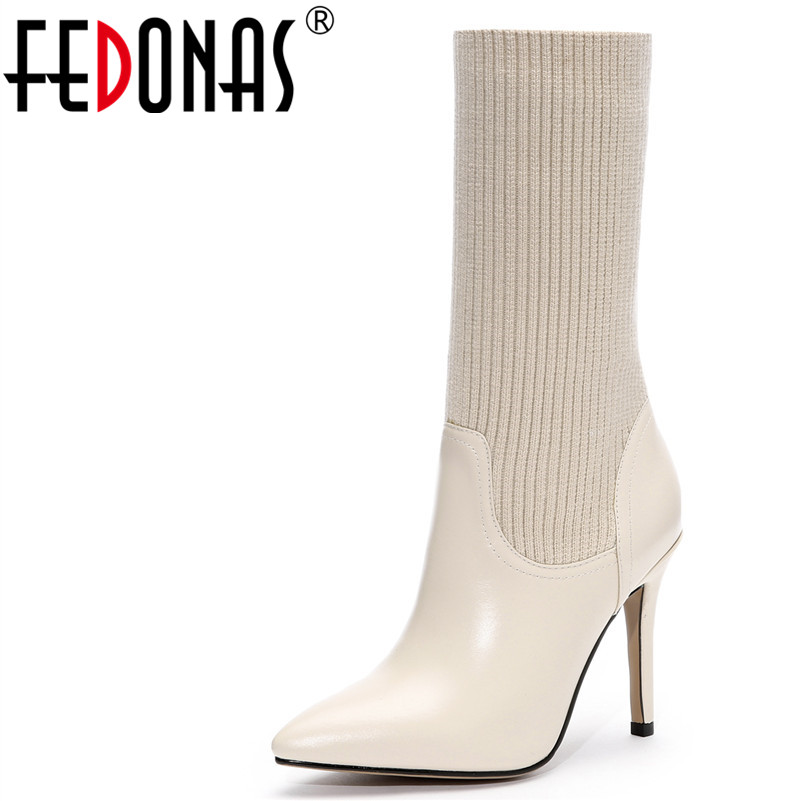 FEDONAS Women Genuine Leather High Heel Sexy Mid-calf Thigh High Autumn Winter Warm Women Socks Boots Fashion Knight Shoes ombre circle calf length socks