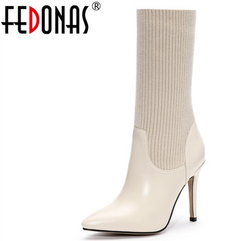 FEDONAS Women Genuine Leather High Heel Sexy Mid-calf Thigh High Autumn Winter Warm Women Socks Boots Fashion Knight Shoes