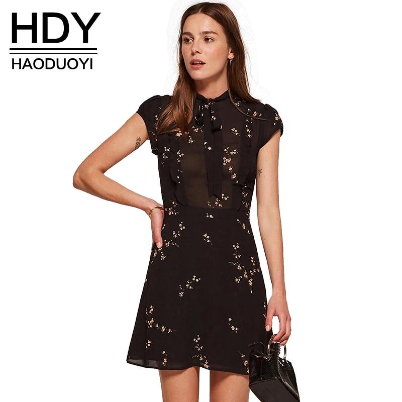 HDY Haoduoyi 2018 модные летние Для женщин Винтаж строки печати короткий рукав мини платье империи О-образным вырезом сплошной черный Vestidos