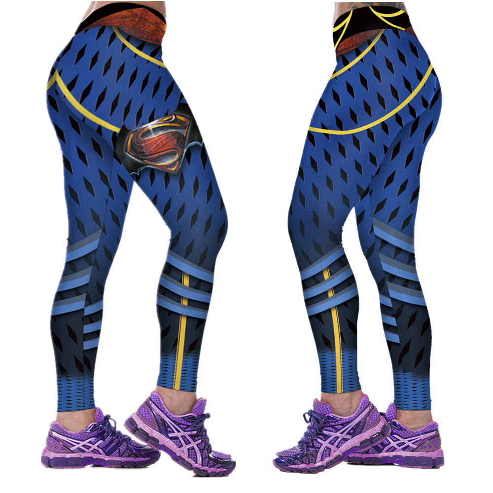 Bottoms Women's Clothing New 88008 Sexy Girl Women Comics Superhero Superman S Vintage Mesh 3d Prints High Waist Fitness Women Leggings Pants Easy To Use