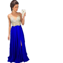 Royal Blue Green Side Split V-Neck Prom Dresses 2017 Long Party Gowns Formal Pageant Evening Long Dress Vestidos De Novia