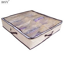 DIVV Happy home Home Storage Organization New Portable Non Woven Bamboo Charcoal Fibre Storage Box For Sandals Leather Shoes Etc