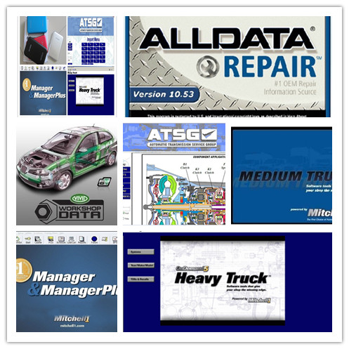 all data repair software alldata 10.53 and mitchell on demand+moto heavy truck 27in1 external hdd 1tb truck diagnostic tool t71 for heavy truck and bus work on vehicles which compliance with j1939 j1587 1708 protocol free shipping