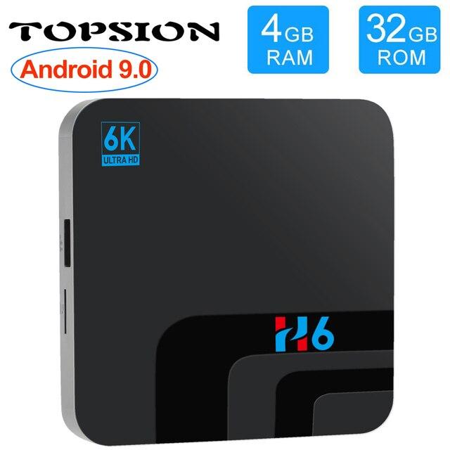 ТВ приставка Topsion, Android 9,0, 4 Гб DDR3, 32 ГБ EMMC ROM, ТВ приставка 6K 3D H.265 Wifi, медиаплеер, ТВ ресивер