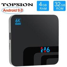 Topsion dispositivo de TV inteligente Android 9,0, decodificador de señal con DDR3 de 4G, 32G, EMMC ROM, 6K, 3D, H.265, wi fi, reproductor multimedia, receptor de TV