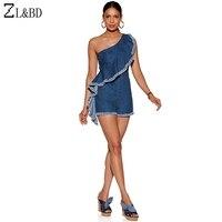 ZL BD Ladies Elegant One Shoulder Ruffles Tassel Denim Playsuit Plus Size 3XL Womens Summer Fitness
