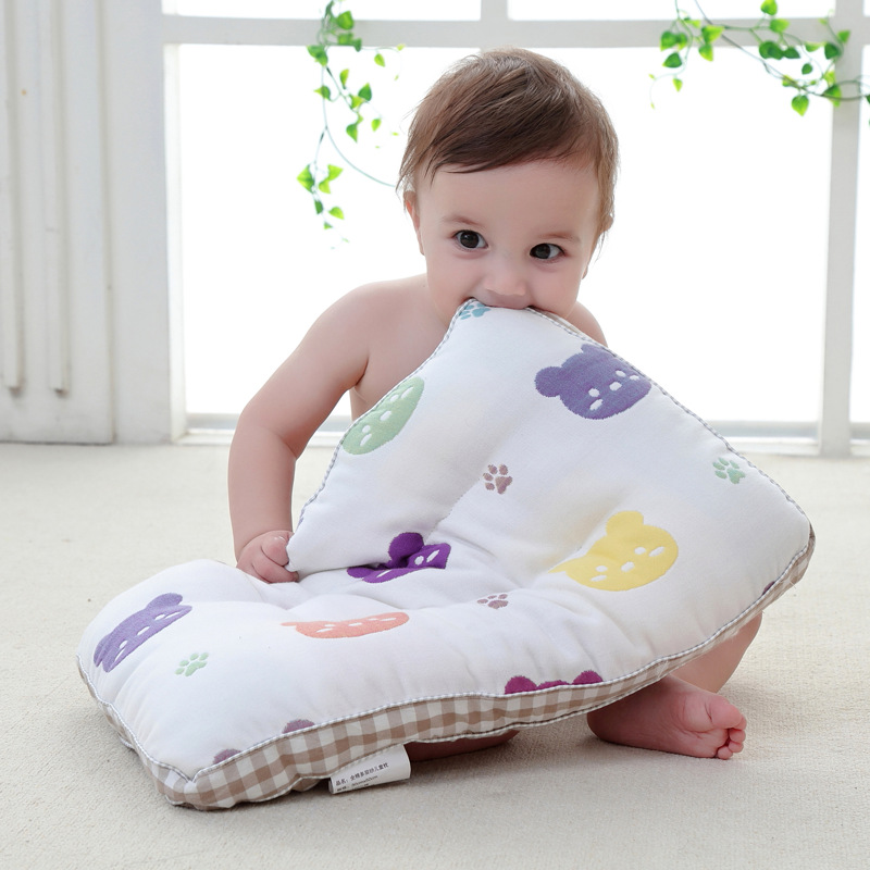 Soft Gauze Baby Pillow Comfortable Long-staple Cotton Pillow For Newborns Baby Sleep Headrest Breathable Infant Kids Pillow