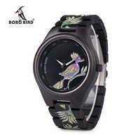 BOBO BIRD Top Brand Luxury P06 Men Chinese Element Painting Ebony Wood Watch Men Quartz Unique Wristwatch relogio masculino