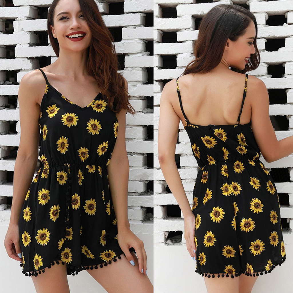 Playsuit Romper Sunflower Print Party Casual Sexy Summer Women Sleeveless Fashion US