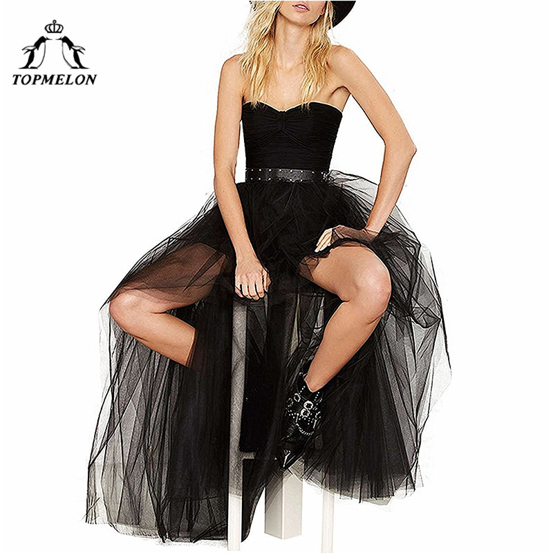 Image 4 - TOPMELON Women's Punk Skirt Female Gothic Tulle Skirt Summer Steampunk Long Skirt Ball Gown Black Mesh Shows Dance Party Skirts-in Skirts from Women's Clothing