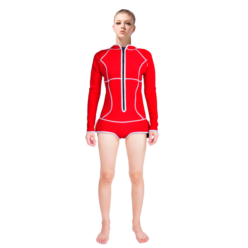 2016 NEW 3mm Neoprene long sleeve and shorts Red Scuba diving surfing swimming Wetsuit For women B1603 sbart2017 scuba diving men shirt neoprene wetsuit 2mm surf swim tops long swimming boys rashguard body suits