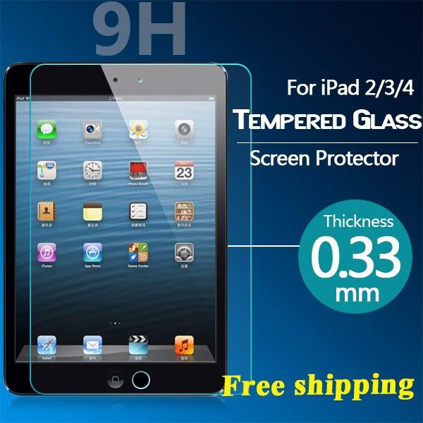 9 h 0.33mm vidro temperado protetor de tela para ipad 2 3 4 protective film tampa com pacote de varejo