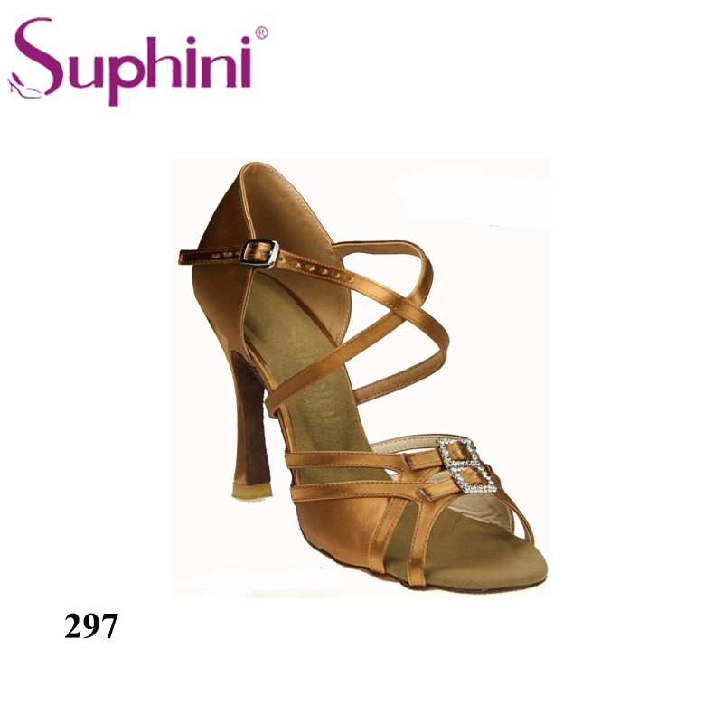 Free Shipping Suphini Woman Salsa Latin Shoes Crystal Buckle Decorated Comfortable Latin Dance Shoes free shipping suphini you can choose heels latin dance shoes basic model woman latin dance shoes