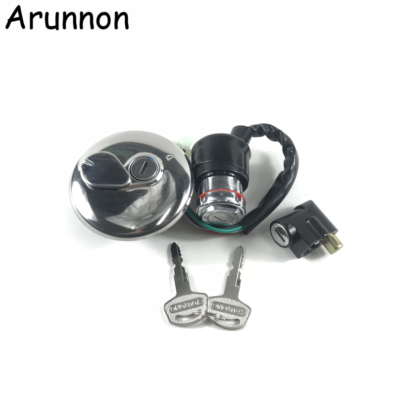 Free Delivery Motorcycle Accessories Ignition Switch Steering Lock 2 Keys Petrol Cap Cover Set For Suzuki GN125 125cc GN 125