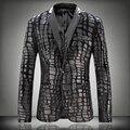 Горячая Большой размер мужчины искусственной кожи сращены бархат костюм мужской пиджак мужской одежды тонкий шерсть плед зима осень верхняя одежда куртка